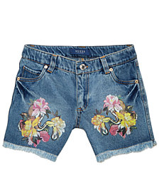 GUESS Graphic-Print Cotton Denim Shorts, Big Girls