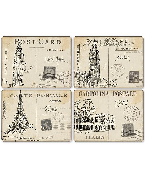 Pimpernel Postcard Sketches Set of 4 Placemats