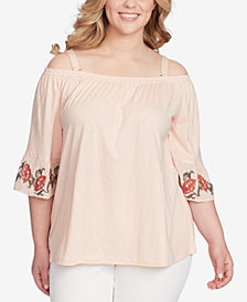 Jessica Simpson Trendy Plus Size Off-The-Shoulder Bell-Sleeve Top