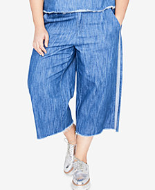 RACHEL Rachel Roy Trendy Plus Size Cotton Wide-Leg Jeans
