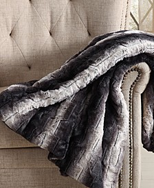 "60"" x 70"" Ombre-Stripe Luxury Faux-Fur Throw"