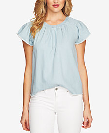 CeCe Cotton Denim Flutter-Sleeve Top