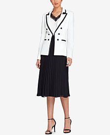 Tahari ASL Contrast-Trim Blazer, Crochet-Trim Top & Pleated Midi Skirt