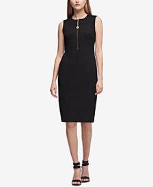 DKNY Zip-Up Scuba Sheath Dress, Created for Macy's