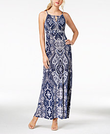 I.N.C. Printed Keyhole Maxi Dress, Created for Macy's