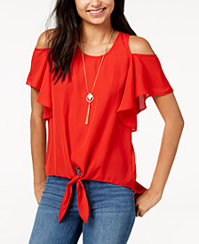BCX Juniors' Tie-Front Cold-Shoulder Top with Necklace