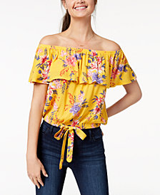 Ultra Flirt by Ikeddi Juniors' Printed Off-The-Shoulder Ruffle Top