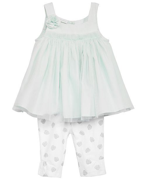 First Impressions Baby Girls 2-Pc. Tulle Tunic & Dot-Print Leggings Set, Created for Macy's