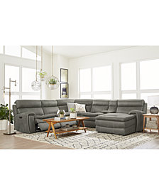 CLOSEOUT! Leilany Fabric Power Motion Sectional Sofa Collection With Power Headrests and USB Power Outlet