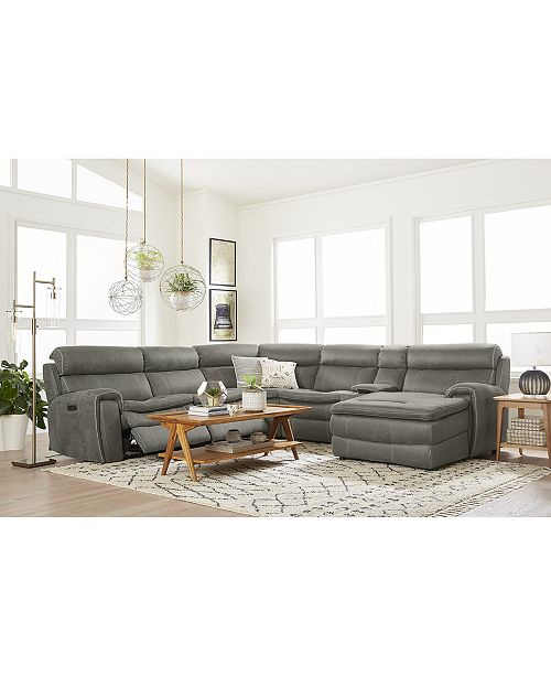 furniture closeout leilany fabric power motion sectional sofa