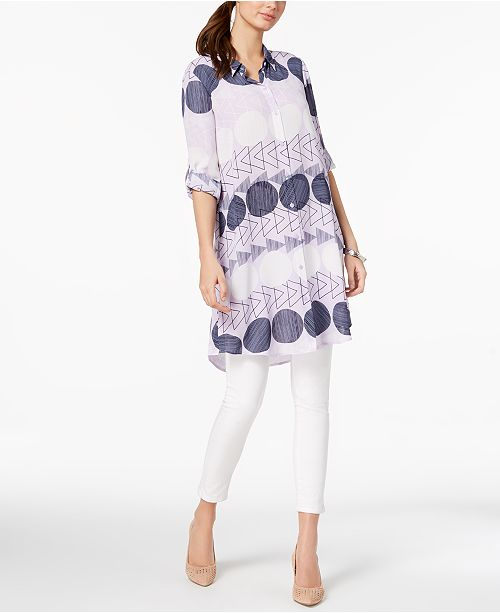 Printed Convertible Tunic Shirt, Created for Macy's