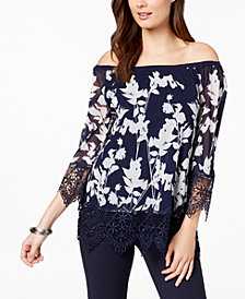 Alfani Off-The-Shoulder Printed Crochet Top, Created for Macy's