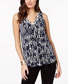 Alfani Petite Pleat-Front Sleeveless Top, Created for Macy's