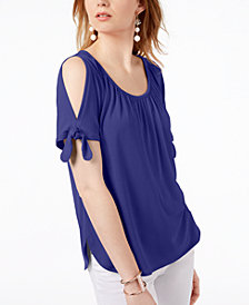 I.N.C. Cold-Shoulder Tie-Sleeve Top, Created for Macy's