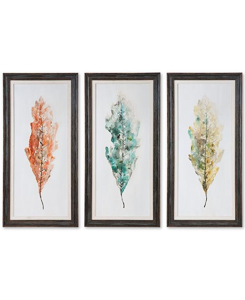 Tricolor Leaves 3 Pc Abstract Wall Art Set
