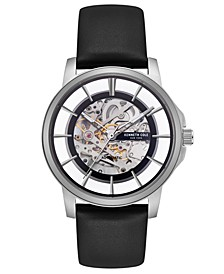 Men's Automatic Black Leather Strap Watch 43mm