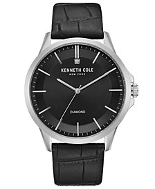 Men's Diamond-Accent Black Leather Strap Watch 44mm