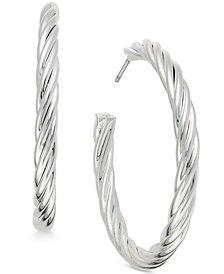 Charter Club Silver-Tone Twist-Look Hoop Earrings, Created for Macy's