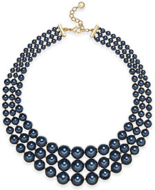 "Charter Club Gold-Tone Graduated Imitation Navy Pearl Triple-Row Statement Necklace, 18"" + 2"" extender, Created for Macy's"
