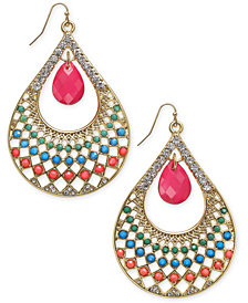 Thalia Sodi Gold-Tone Beaded Stone Teardrop Drop Earrings, Created for Macy's