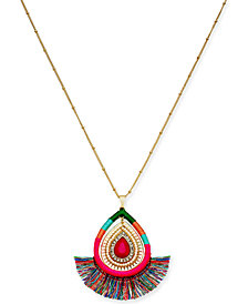 "Thalia Sodi Gold-Tone Stone & Wrapped Thread Pendant Necklace, 32"" + 3"" extender, Created for Macy's"