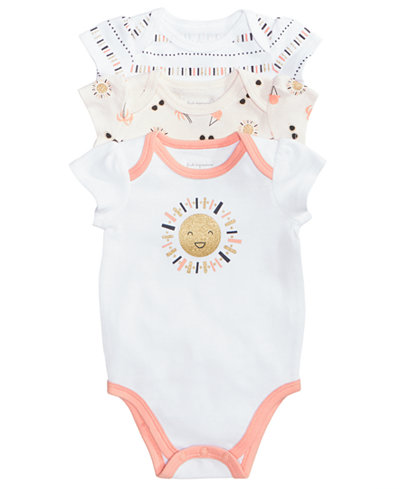 f3ed3bbf2 First Impressions Baby Girls 3-Pack Graphic-Print Cotton Bodysuits ...