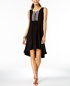 Style & Co Embroidered High-Low Dress, Created for Macy's