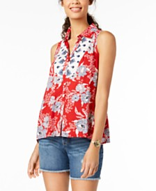 Style & Co Petite Printed Button-Front Shirt, Created for Macy's