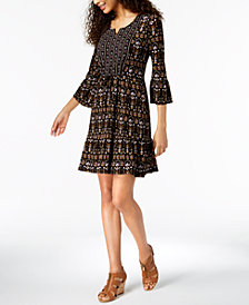 Style & Co Mixed-Print Drawstring-Waist Dress, Created for Macy's