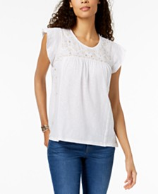 Style & Co Petite Embroidered Flutter-Sleeve Top, Created for Macy's
