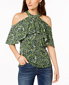 MICHAEL Michael Kors Petite Paisley-Print Cold-Shoulder Top