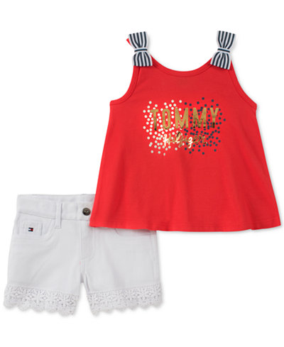 Tommy Hilfiger Baby Girls 2-Pc. Graphic-Print Tank Top & Denim Shorts Set