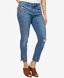 Lucky Brand Ava Embroidered Ripped Skinny Jeans