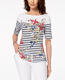 Karen Scott Petite Cotton Placed-Print Elbow-Sleeve Top, Created for Macy's