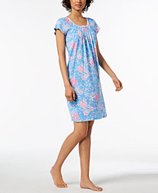 Miss Elaine Rose-Print Picot-Trim Nightgown