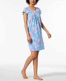 Miss Elaine Rose-Print Picot-Trim Nightgown