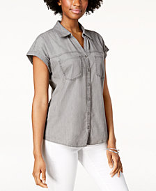 Style & Co High-Low Short-Sleeve Shirt, Created for Macy's