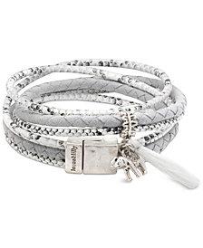 lonna & lilly Silver-Tone Pavé Elephant & Tassel Fabric Wrap Bracelet