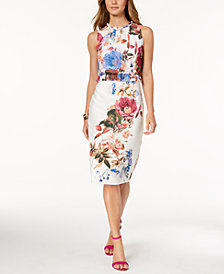 Ivanka Trump Floral-Print Peplum Dress
