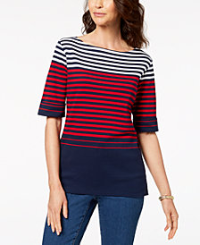 Karen Scott Petite Cotton Striped Boat-Neck Top, Created for Macy's