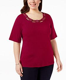 Karen Scott Plus Size Cotton Cutout Top, Created for Macy's