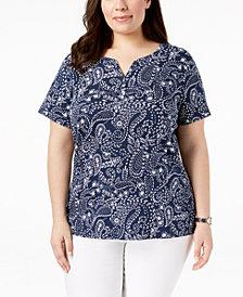 Karen Scott Plus Size Split-Neck Paisley Top, Created for Macy's