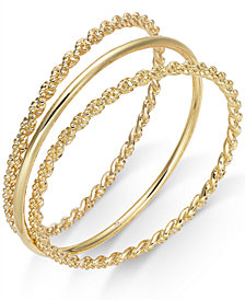 Charter Club Gold-Tone 3 Pc. Set Rope and Polished Bangle Bracelets, Created for Macy's