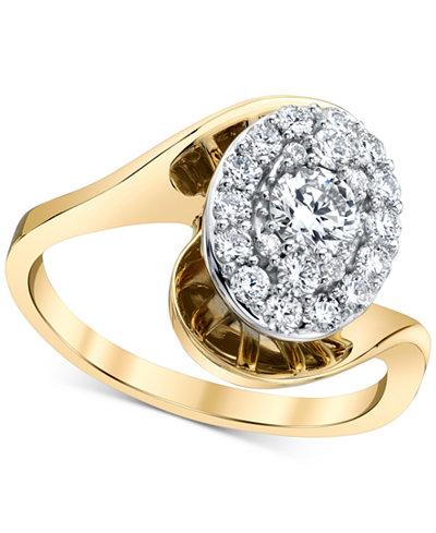 Diamond Halo Twist Ring (3/4 ct. t.w.) in 14k Gold & White Gold