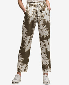 DKNY Printed Tie-Waist Pants, Created for Macy's