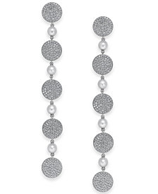 Danori Pavé Disc & Swarovski Imitation Pearl Linear Drop Earrings, Created for Macy's