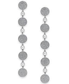 Danori Pavé Disc & Swarovski Imitation Pearl Linear Drop Earrings, Created for Macy's