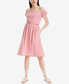 Max Studio London Gingham Off-The Shoulder Dress, Created for Macy's