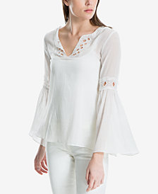Max Studio London Cotton Eyelet Bell-Sleeve Blouse, Created for Macy's
