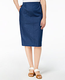 Alfred Dunner Petite Denim Straight Skirt